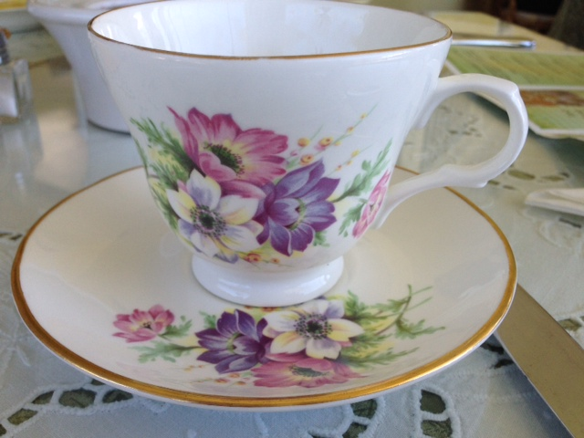 china tea cup and saucer from Wisteria Tea Room.
