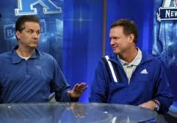 Coach Calipari on the left and Coach Self on the right