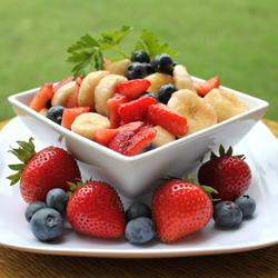 Red, White and Blue Fruit Trifle
