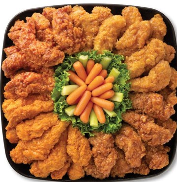 The chicken tender platter with various sauces