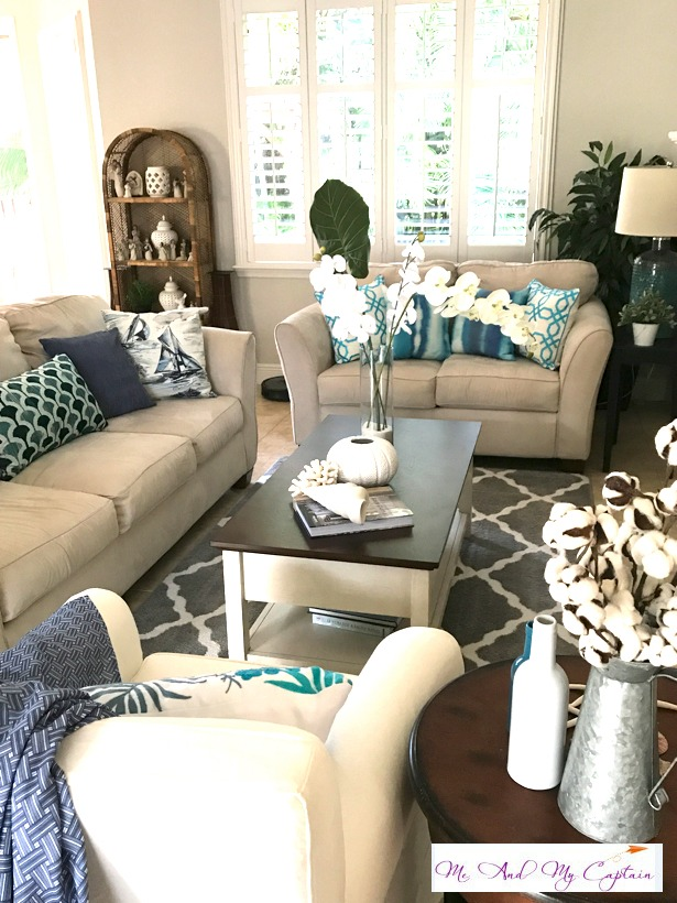 Living room coastal decor