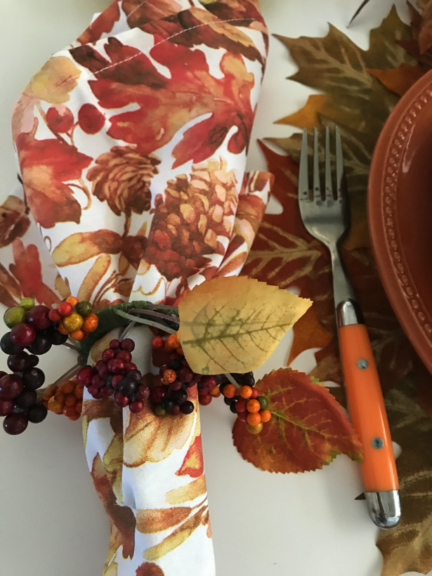 Leaves of Autumn tablescape.