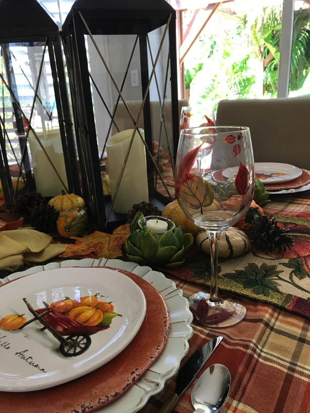 autumn dining with leaf stemmed water glasses.