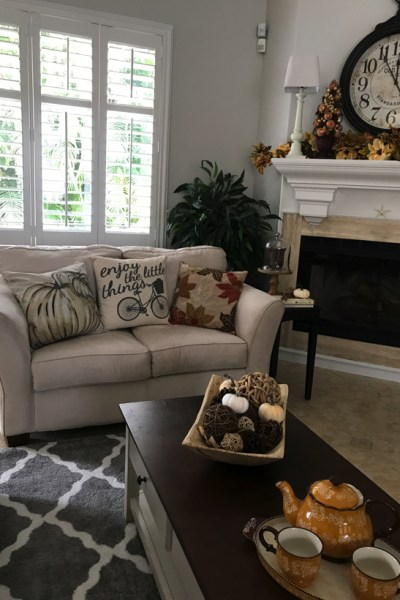 Neutral furniture allows for pillow changes such as these throw pillows.