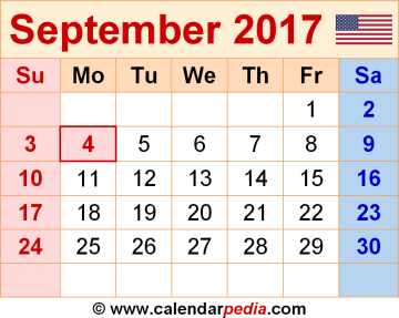 calendar of the month of September.