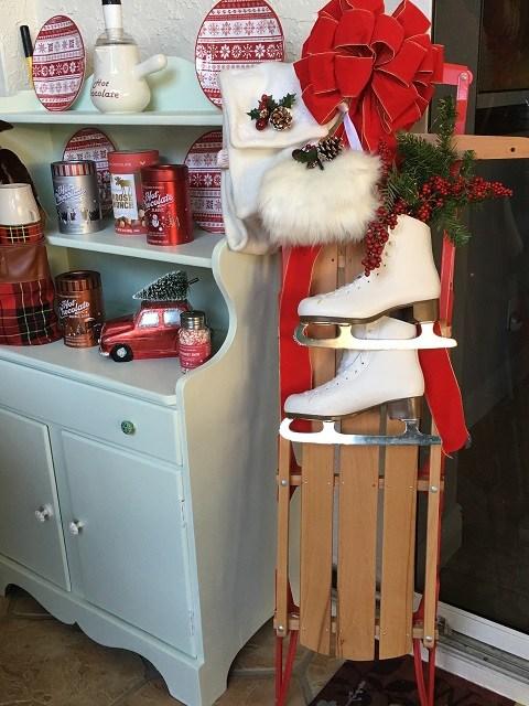 hutch and Christmas decor