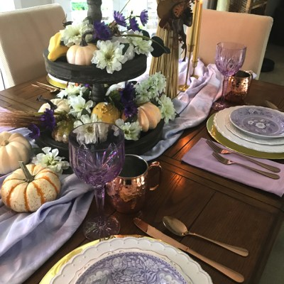 Lavender Blue & Gold Tablescape