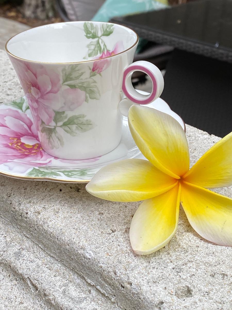Yellow Plumaria and teacup