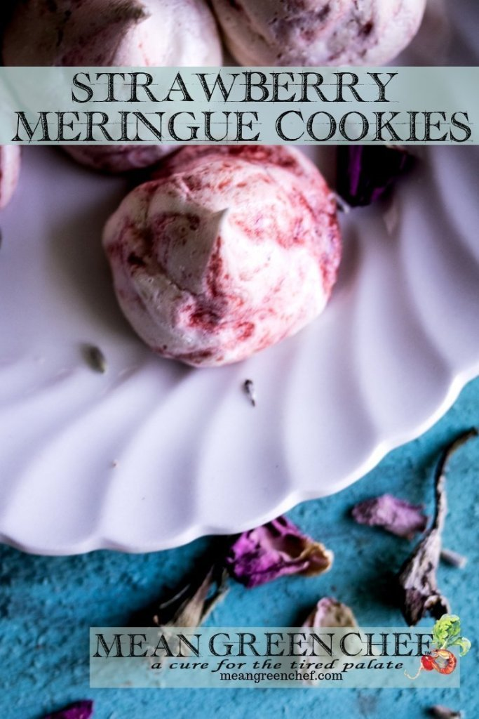 Strawberry Meringue Cookie Recipe | Mean Green Chef | These strawberry meringue cookies are beautiful and versatile. Not to mention a lot of fun to make and pipe! #meringuecookies #meringuekisses #easycookierecipe #easycookies #valentines #valentinesday #valentinecookies #foodphotography #foodstyling #meangreenchef #MGCkitchen