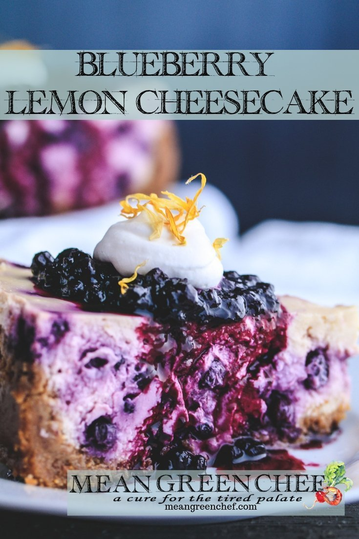 Blueberry Lemon Cheesecake | Mean Green Chef #blueberrycheesecake #lemoncheesecake #cheesecake #cheesecakerecipe #cheesecakefactory #foodphotography #foodstyling #meangreenchef #MGCKitchens