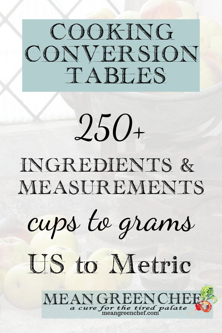 Cooking Conversion Tables for savory and baking recipes. Convert recipes quickly! #meangreenchef #cookingtips #conversion #conversionchart #baking #cooking #bakingtips #foodphotography #foodstyling #MGCkitchens