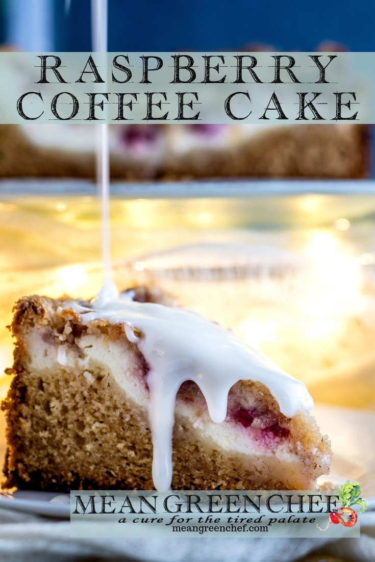 Raspberry Coffee Cake | Mean Green Chef - A decadent Raspberry Coffee Cake filled with plump red raspberries and cream cheese! #coffeecake #coffeecakerecipes #coffeelove #breakfast #breakfastrecipes #breakfastideas #meangreenchef #MGCKitchens