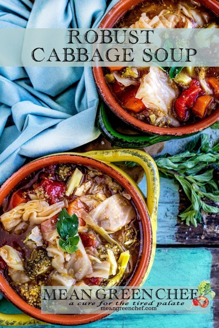Cabbage Soup Recipe   Mean Green Chef   Robust Cabbage Soup is a full-flavored bowl that's healthy and light. Super easy to prepare and totally versatile you can add more veg or even some roasted chicken if you want to! #cabbagesoup #cabbage #cabbagerecipes #soup #souprecipeshealthy #foodphotography #foodstyling #meangreenchef #MGCKitchens