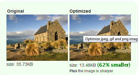 Showing original and Web Resizer images and their file sizes