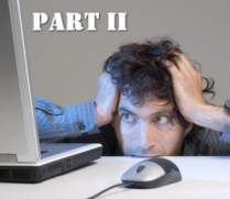 Part Two man staring frustratedly at his computer monitor
