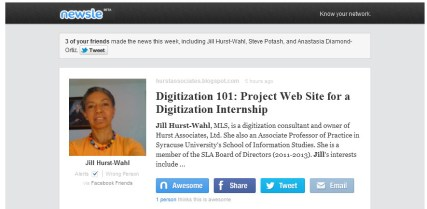 Screenshot of actual Newsle email, showing a blog article about Jill Hurst-Wahl