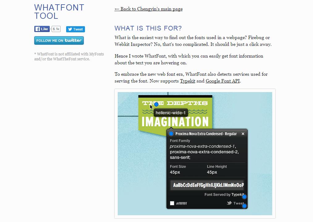 Screenshot of WhatFont