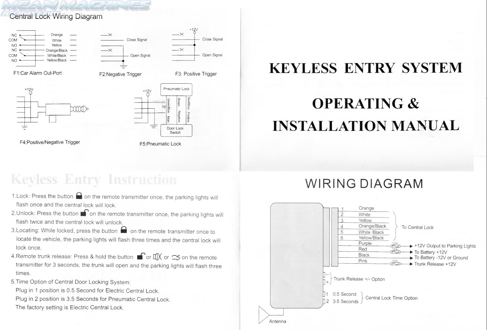 universal keyless entry wiring diagram telecaster neck pickup solenoid actuator 43 remote central locking kit combo 4