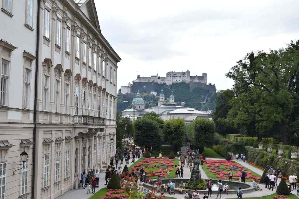 fortress on hill overlooking Salzburg overlooking Mirabell Palace gardens