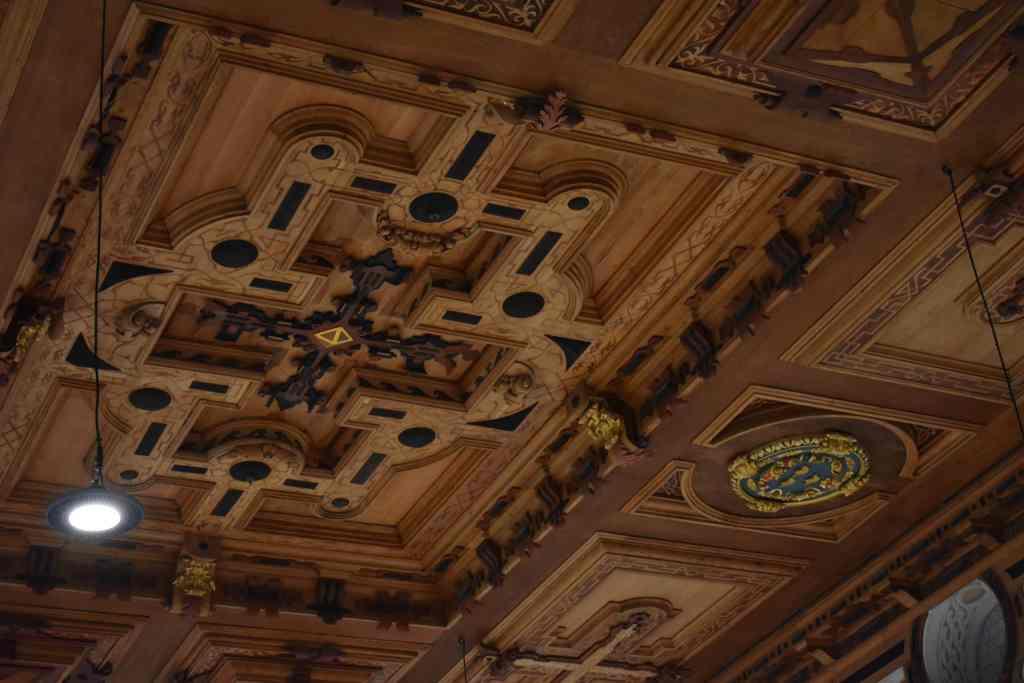 wooden ceiling in Dachau Palace ballroom
