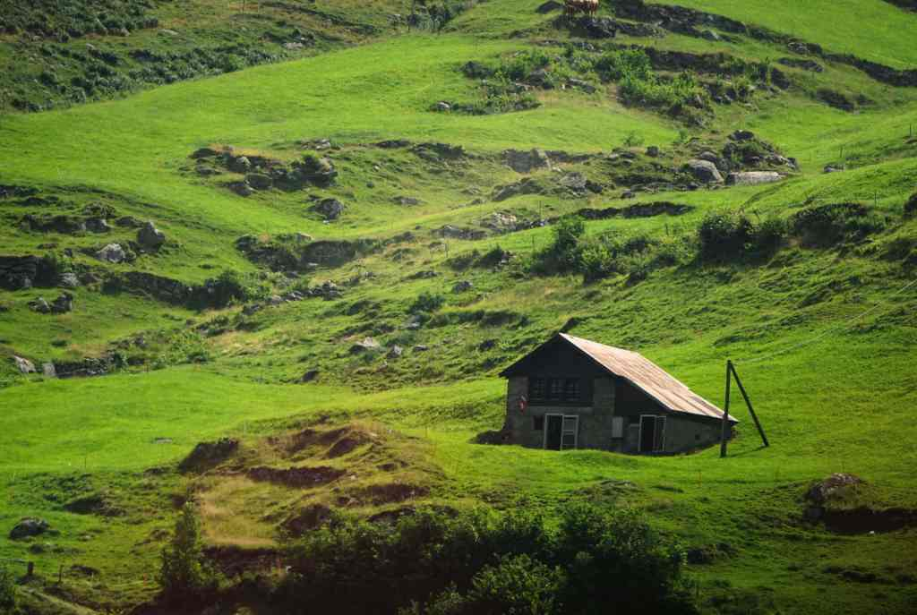 green Swiss field with brown building
