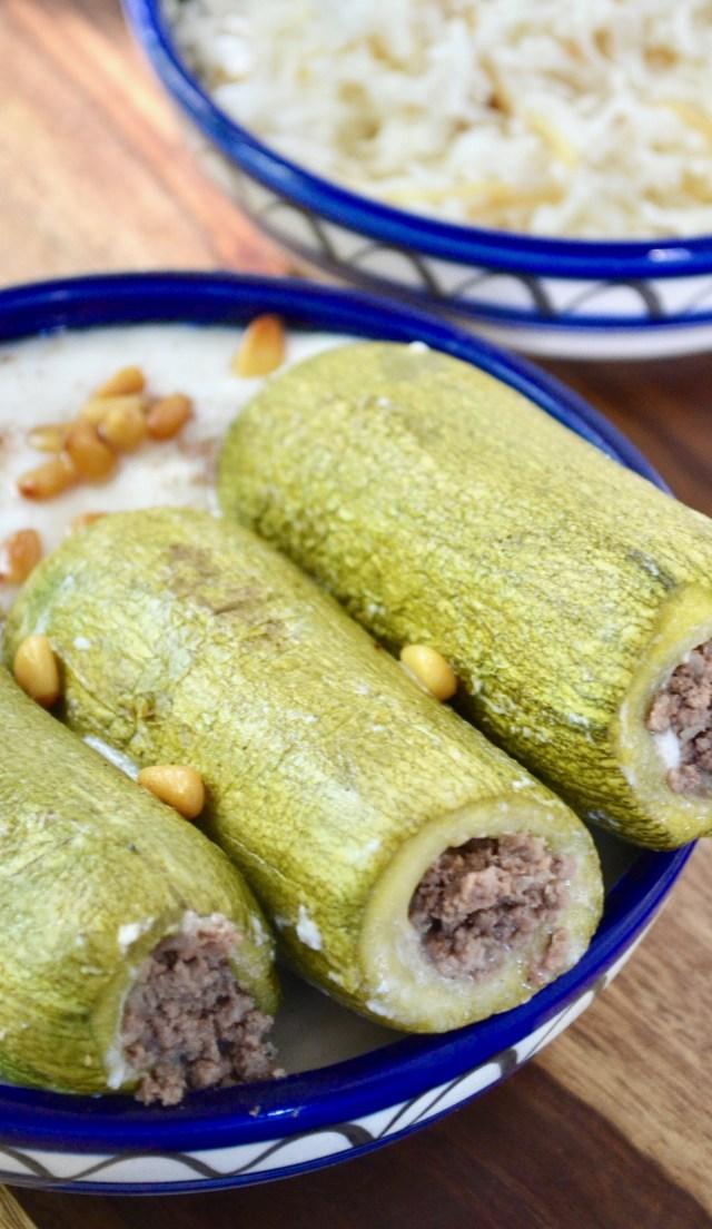 Koussa Mahshe Stuffed Zucchini in Yogurt Sauce