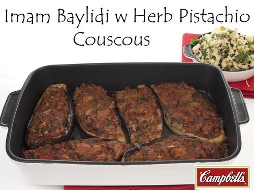 Imam Baylidi w Herb Pistachio Couscous -courtesty of Campbell's Real Stock