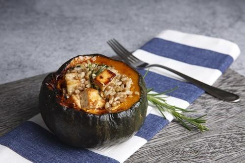 Vegan Tofu & Rice Stuffed Pumpkin