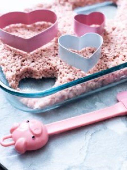 pink heart shaped rice krispie treat valentine favorite