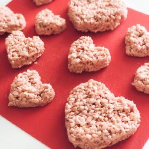 heart-shaped rice krispie treats a valentine favorite