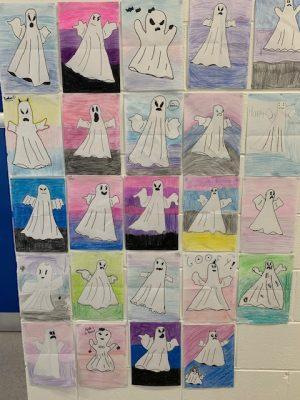 Halloween Art Doncarney Girls School ghosts