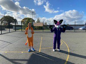 Halloween Art Doncarney Girls School costumes outside 13
