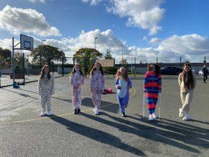 Halloween Art Doncarney Girls School costumes outside 15
