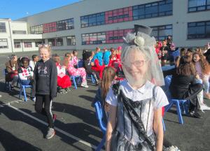Halloween Art Doncarney Girls School costumes outside twelve