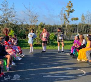 Halloween Art Doncarney Girls School outdoors costumes four