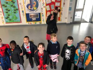 Ms Rice with Junior Infants