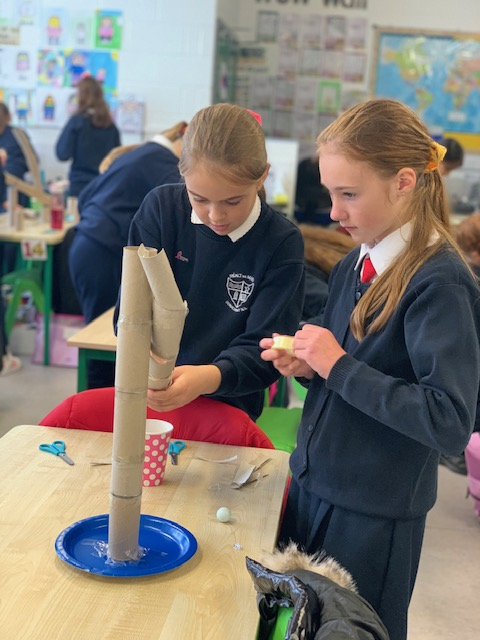 Science week fun with towers at Donacarney Girls' school
