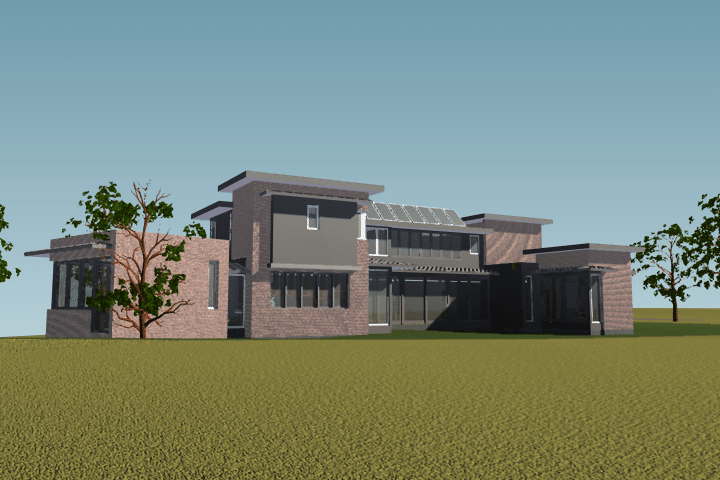Southwest view rendering contemporary home