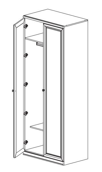 Шкаф 2-х дв. с глухим и зеркальным фасадом