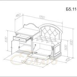 Банкетка-обувница с тумбой Б5.11-4 Карамель/Изумруд