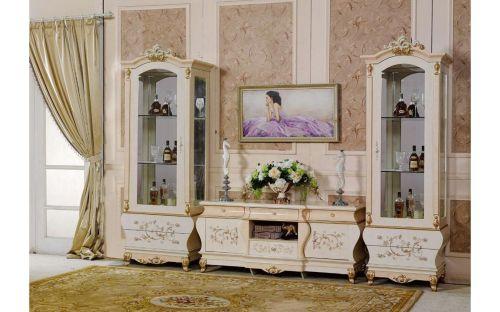 """Гостиная """"Теодора TEODORA 3868"""", с 2-дверной витриной, беж"""