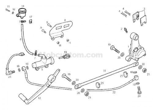 Fiche technique : frein arrière de la derbi GPR 2004