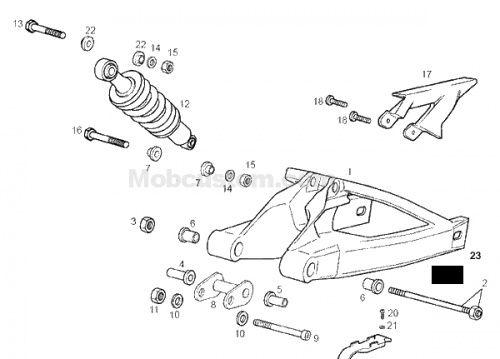 Fiche technique : le bras oscillant de la derbi GPR 2004