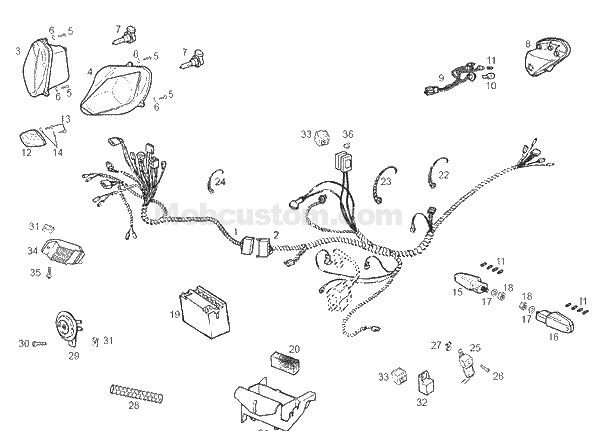 Fiche technique : l'électricité de la derbi GPR 2004