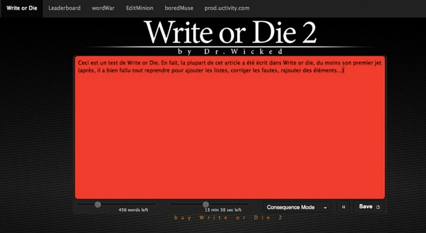 Ecran d'écriture de Write or Die