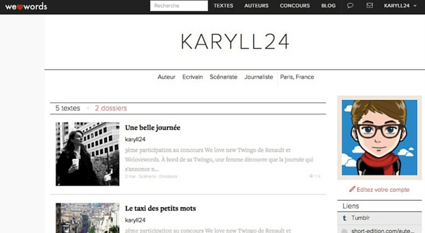 Page auteur de Welovewords - article