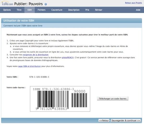Lulu - Inclure son ISBN