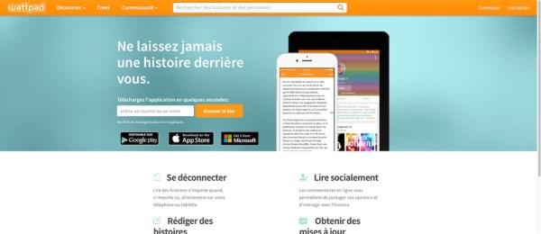 Page d'accueil de Wattpad en Français