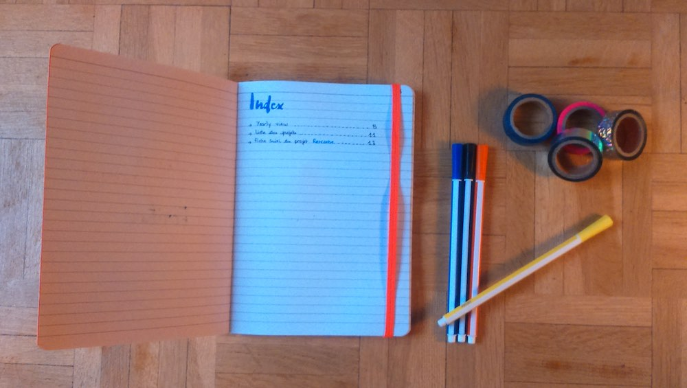 L'Index d'un bullet journal d'écriture