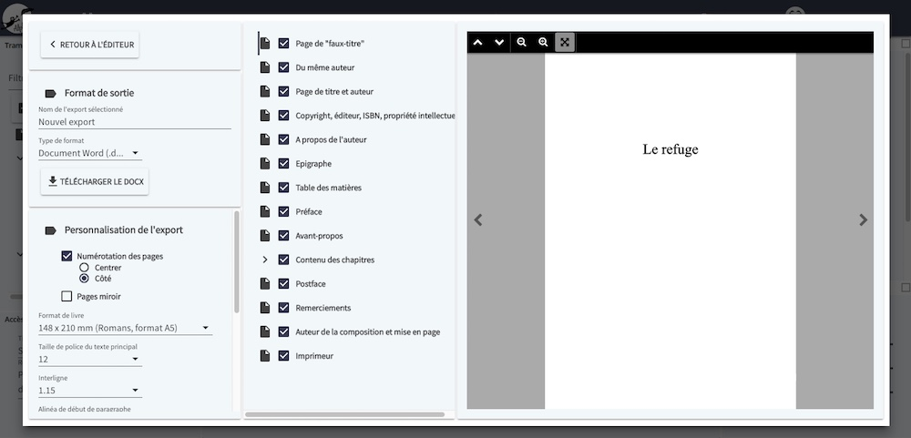 WriteControl, le mode export